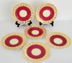 6 Antique Minton England Marshall Field Chicago Gilt Red Dessert Plates As Is