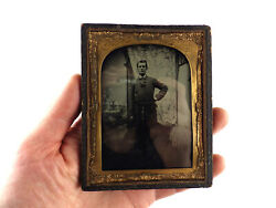 Butcher And Knife Sharpening Steel Antique Ambrotype Photo19th Century Tradesman