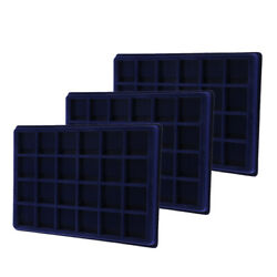 3 Pieces 24 Grid Velvet Frame Coin/ Jewelry Display Tray Box For Collector