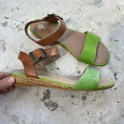 Eric Michael Leather amp; Suede Espadrille Sandals Brown amp; Lime Green Size 7 $30.00