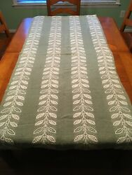 Vintage Farmhouse Sage Green Woven Tapestry, Table Topper, Guc
