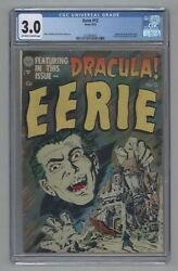 Eerie 12 1st Dracula Cover 1st Bram Stokerand039s Adapt. Pch Golden Age 1953 Cgc 3.0