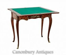 French Antique Card Table - Empire Games Tables Parquetry Inlay 1890