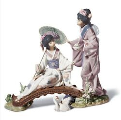 Lladro 1445 Springtime In Japan Perfect Porcelain Figurine With Wood Base And Box
