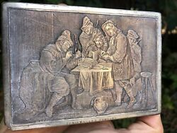 """Antique French Silver Plated Jewellery Box """"teniers Les Fumers"""" Engraved"""