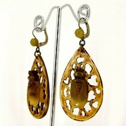 Antique Art Nouveau European French Hand Carved Horn Cicada Insect Earrings