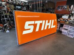 Large Stihl Chainsaw Sign 8ftx4ft Very Nice Lighted Vintage Sign - Great Shape