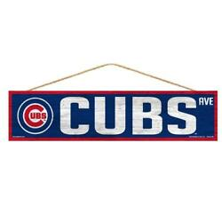 Chicago Cubs 4x17 Wood Sign Avenue Design [new] Mlb Street Banner Wall