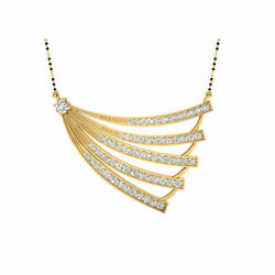 1.53 Ct Real Diamond Pendant For Women Solid 14k Yellow Gold Wedding Mangalsutra