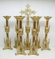 Set Of Six 6 Brass Gothic Altar Candlesticks 18 Ht. And Altar Cross - 117