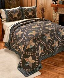 New Black Primitive Farmhouse Star Printed Quilt Set Country Lodge Cabin