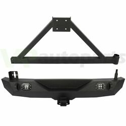 Heavy Duty Rear Bumper With Tire Carrier Led Lights For 2007-2018 Jeep Wrangler