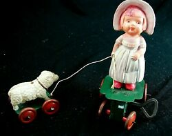 Antique Celluloid Mary And Her Little Lamb Metal Windup Collectible - Fantastic