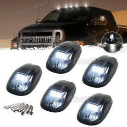 5x Set White 6k Led Cab Roof Running Marker Lights Fit Truck Suv Off Road Smoke
