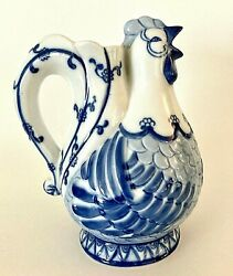 Blue And White Rooster Chicken Pitcher 7.25 Tall Ceramic Farmhouse Décor Farm Ec