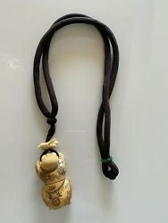 Unique And Rare Silk Cord Carved Wood Figurine Japanese Netsuke Pendant Necklace