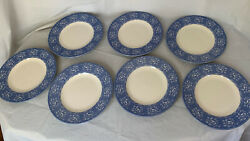 7 Queen's China England Albertine Bread Butter Plates Blue White - Discontinued