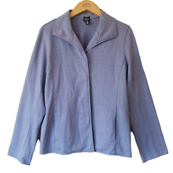 EILEEN FISHER Purple Blue French Terry Wing Collar Casual Jacket L TTCB