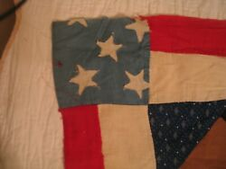 2 Antique Quilt Tops Museum American Flag Adaption And Blue Broken Dishes