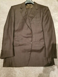 Canali 2b Suit 44r 44 R 54r Euro Brown Glen Plaid Brushed Super 120and039s Wool