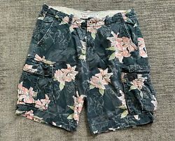 Mens American Eagle Classic Fit Cargo Khaki Shorts Floral All Over Print 36 Blue