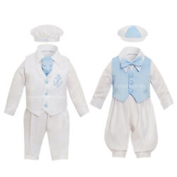 Baby Boys Christening Suit Romper Outfit Baptism Wedding Blue Party Formal Wear