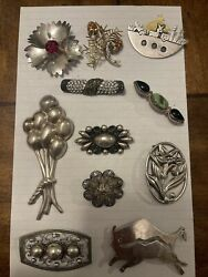 11 Vintage Sterling Silver Retro Brooch Pin Lot .925 Real Silver