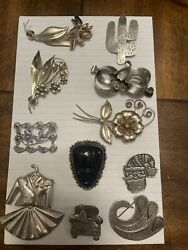 11 Vintage Sterling Silver Brooch / Pin Lot .925 All Marked Silver Retro Lg