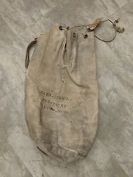 Vintage 40s Us Navy Canvas Sea Bag Duffel Laundry Military Wwii W/ Delivery Tag