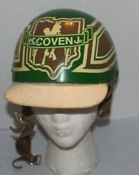 Vtg Horse Racing Riding Helmet H Coven Jr Hard Handcrafted Green And Brown Rare