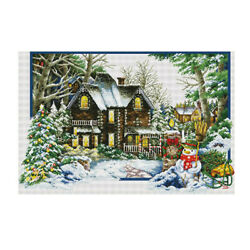 Stamped Cross Stitch Kit 11ct Embroidry Material Package - Seasons Landscape