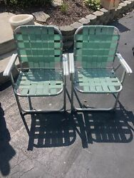 Vintage Aluminum Folding Lawn Chairs Outdoor Webbed Lawnnite Co. Usa 2 Matching