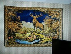 Vintage Tapestry Wall Hanging Italy STAG AND DOE#x27;S R.T. Co NY Italian 73quot;X48quot;