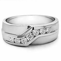 Solid 14k White Gold Bands 0.15 Ct Natural Diamond Band Men's Ring Size 9 11 12