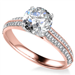 Womanand039s Beautiful Ring 1.52 Ct Real Diamond Size 5 6 7 8 9 14k Rose Gold