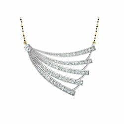 1.53 Ct Real Diamond Wedding Mangalsutra For Women Solid 14k White Gold Pendant