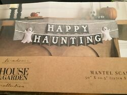 Nwt House And Garden Happy Haunting Mantel Scarf 50 X 10.5 Ghosts Halloween