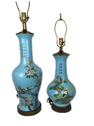 """Exquisite Asian Table Lamps Hand Painted Blue W/ Birds Flowers Large 39"""" And 29"""""""