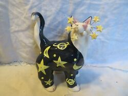 Celestial RARE WhimsiClay Cat 2 free gift pins WhimsiClay by Amy Lacombe.