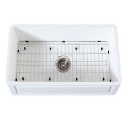 Gourmetier Farmhouse Kitchen Sink With Strainer And Grid Kgkfa331810ld