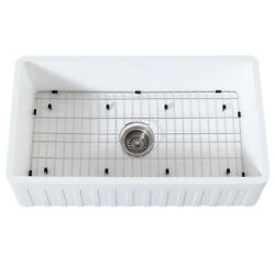 Gourmetier Farmhouse Kitchen Sink With Strainer And Grid Kgkfa361810cd