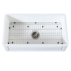 Gourmetier Farmhouse Kitchen Sink With Strainer And Grid Kgkfa361810ld