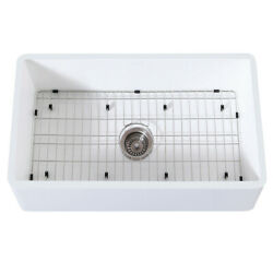 Gourmetier Farmhouse Kitchen Sink With Strainer And Grid Kgkfa331810bc