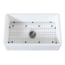 Gourmetier Farmhouse Kitchen Sink With Strainer And Grid Kgkfa301810ds