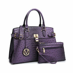 Women Faux Ostrich Leather Padlock Satchel Bags Purses with Matching Pouch $46.99