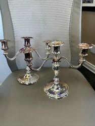 Fine Pair Vintage Wallace Silverplate Baroque Candelabra Two 3 Arm Candlesticks