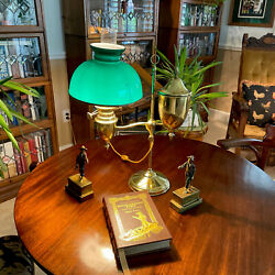 Antique Brass Student Lamp Cased Dark Emerald Glass Green Shade Electrified