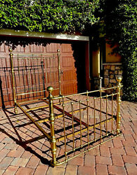 Antique Brass Bed W/curved Foot Board Original Iron Slats Dated March 7 1899