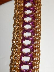 Handmade Solid Brass And Grape Anodised Aluminium Chain Maille Ladder Bracelet