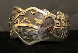 Navajo Sterling Silver And 14k Gold Bracelet By Hyson Craig